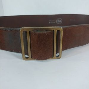 unisex leather belt brown sueded cowhide size m